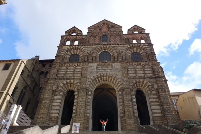 On the steps of the cathedral, Le Puy France.