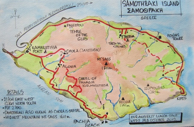 One of the many watercolour maps included in Odyssey Part 1. Samothraki Island, Greece.