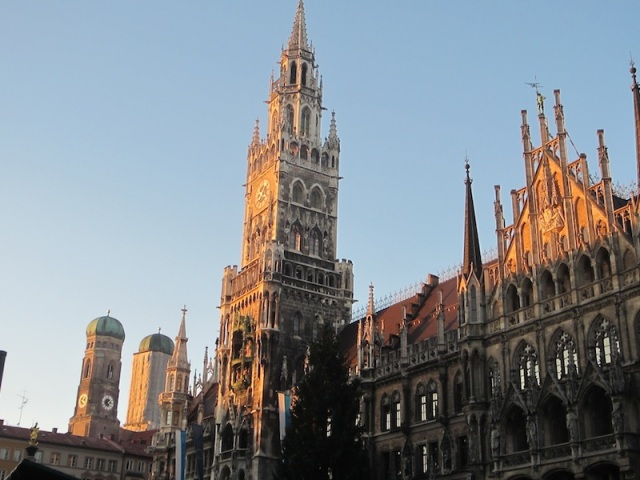 Neue Rathaus (Town Hall) sits along one edge of Marienplatz.