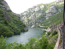 Neretva River coming down from Mostar. River flow is controlled by a number of hydro-electric dams.