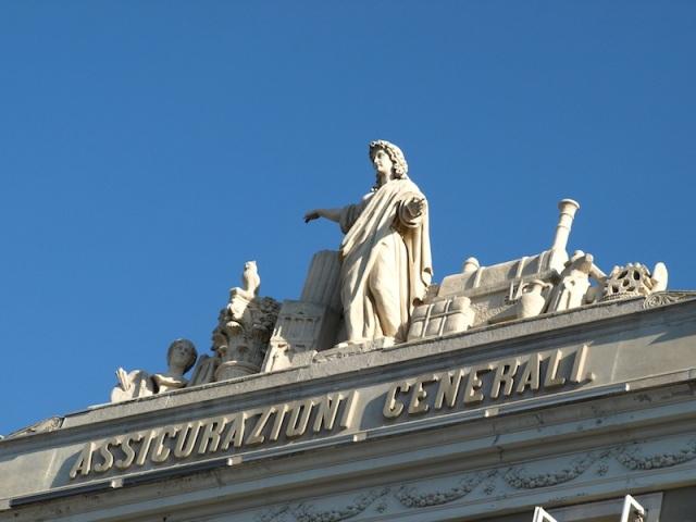 The ornamentation on top of the Assicurazioni Generali insurance building.