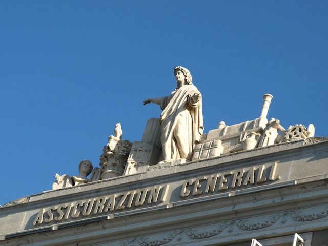 The ornamentation on top of the Assicurazioni Generali insurance building.