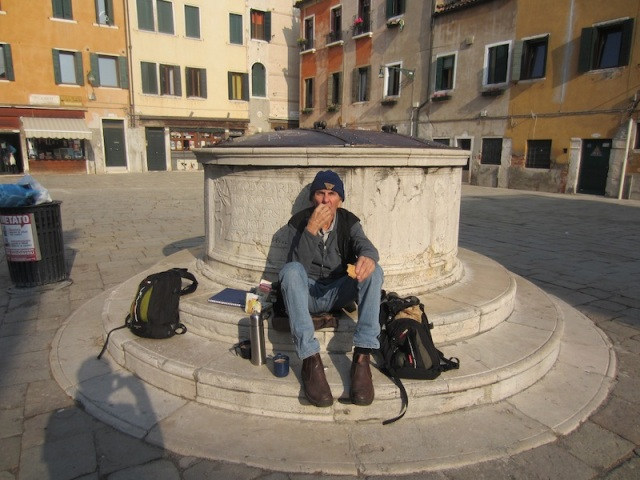 Uncouth tourist. Bev and I were the only people in Venice doing their own morning tea.