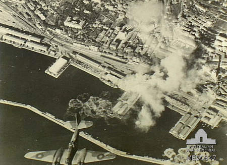 Rijeka under aerial bombardment by Royal Air Force planes, 1944.