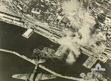 Rijeka under aerial bombardment by Royal Air Force planes, 1944.