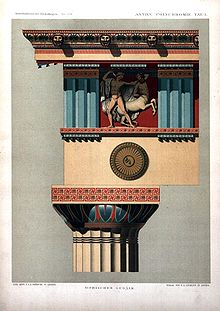 An example of a polychrome decoration. This is a reconstructed colour scheme of the entablature on a Doric temple. Image from Wikipedia.