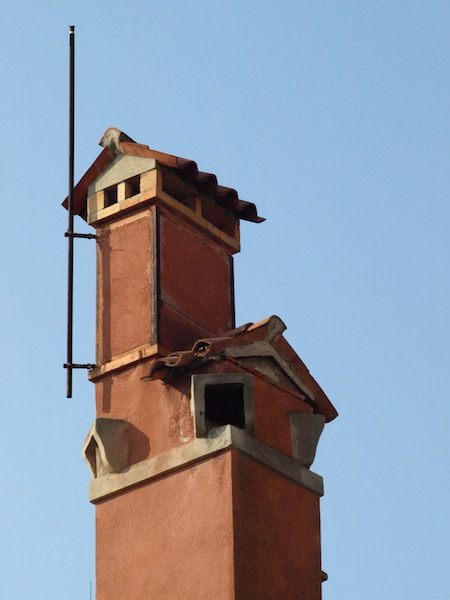 Chimney with lightning conductor.