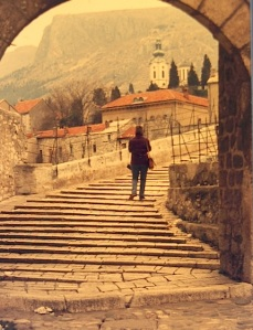Bev on the Mostar Bridge in 1972.  Crossing from west to east.