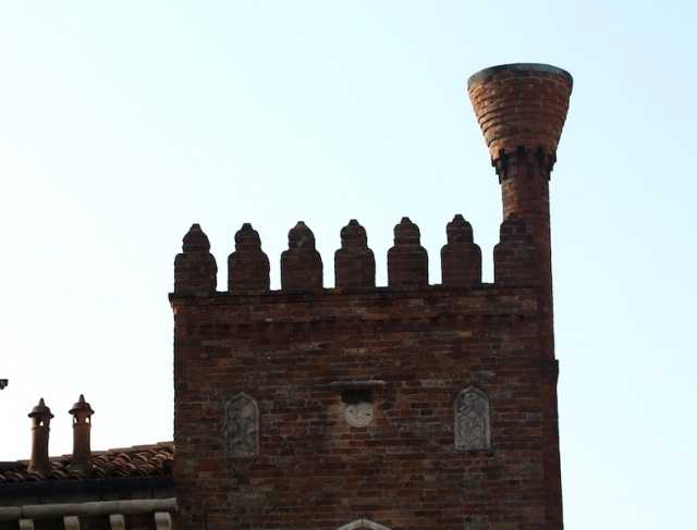 A truncated cone crocket chimney.