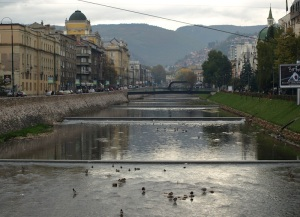 The well-controlled Miljacka River running through Sarajevo.