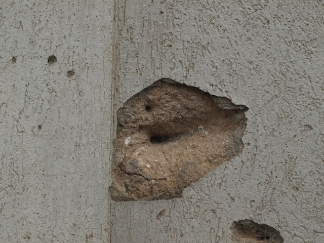 A probable, sniper bullet impact point