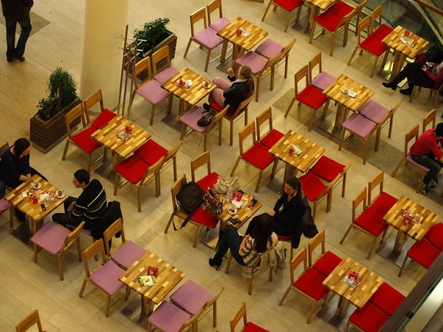 New things in Sarajevo, like this café in the shopping complex, are colourful.