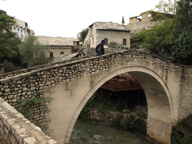 A miniature version of the Mostar Bridge on the east bank. This bridge was also destroyed and rebuilt.