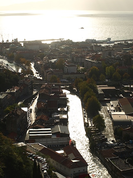 The view down the river and out across the harbour. Rijeka actually means river.