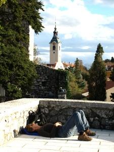 Rare moment on the parapet of the Trsat Castle.
