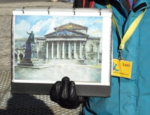 A copy of one of Hitler's paintings of Munich's National Theatre.