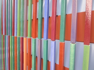 The extruded and glazed sections on the outer walls of the museum.