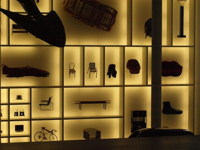 A display inside the foyer of the museum. The bike and chairs are full size so it is easy to visualise the size of the feature.