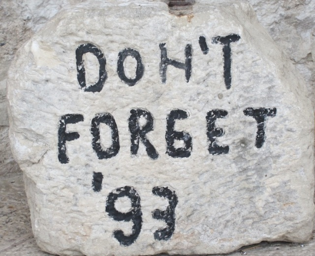 This message on a stone was near one of the Mostar Bridge abutments.