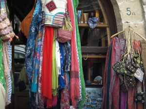 A collection of scarves, some pashmina.