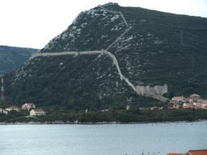Wall of Ston on the Peljesic Peninsula north of Dubrovnik.