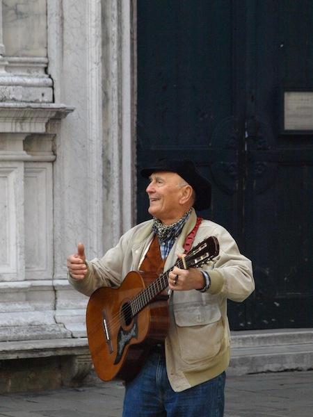 The feeling I got when listening to this opera singing busker was that he was singing for the love of performing, not the money.