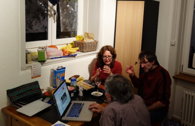 Having a discussion in the kitchen. You can see by the hand positions that the discussion was fairly intense.