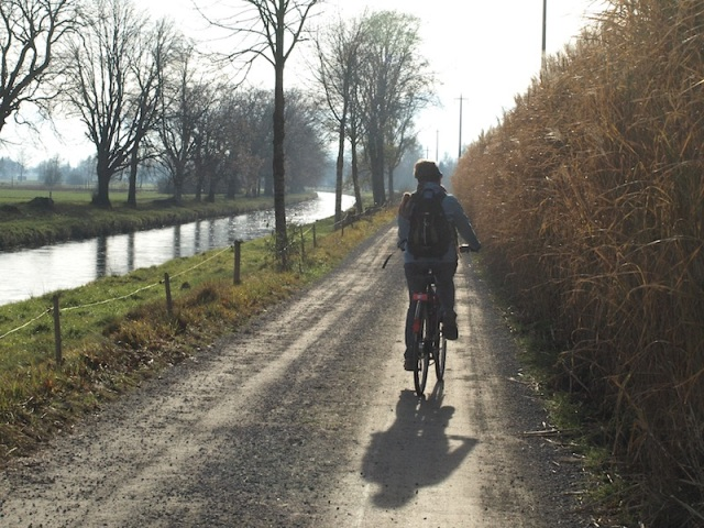 Riding across the flood plain.