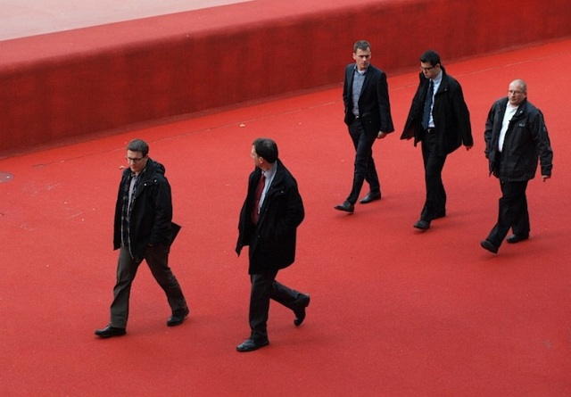 The boys going back to work after lunch.