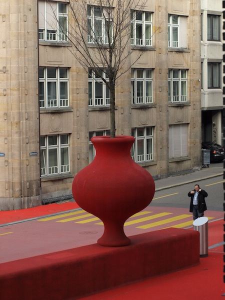 Artistic pot with a living tree.