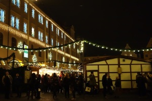 Augsburg Rathaus alight for the Christmas market.