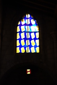 The unusual windows in the church at Aigues-Mortes.  The patterns relate to knight regalia.