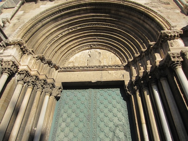 The Romanesque entrance to St Martha's Church.