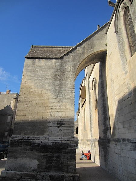 Massive flying buttress at the side of St Martha's Church.