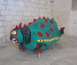 School kids' paper dragon.