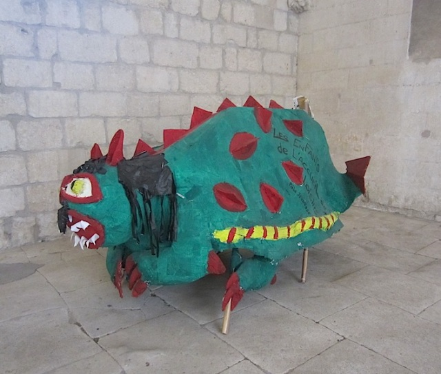 School kids' paper dragon.