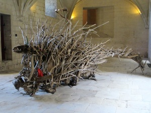 Rhone River driftwood dragon taking shelter in the Chateau du Roi Rene.