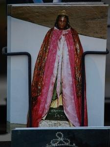 A postcard of a black Madonna.