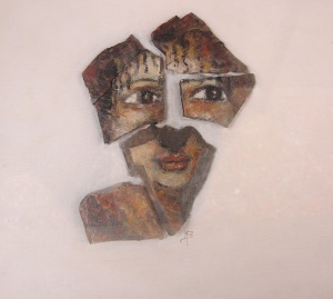 Another piece of local artwork, a fragmented ceramic face.
