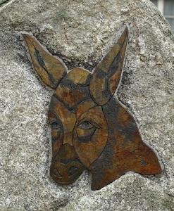 Ceramic image of Stevenson's donkey Modestine outside the tourist information.