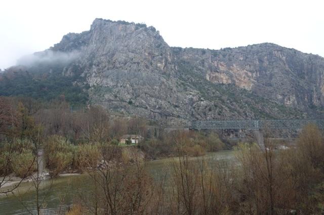 Impressive landscape with railway bridge across the river.