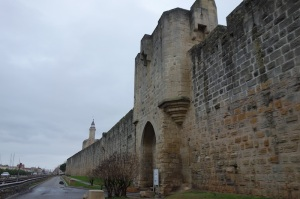 A portion of the town curtain wall.  The squared stone is called ashlar.