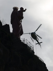 The removal of the scaffolding at Mary's feet was a very tricky manoeuvre as the pilot had to come in very close.