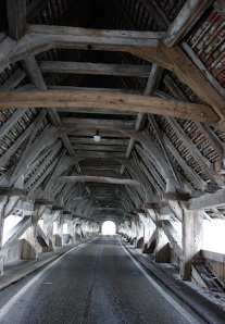 Covered roadway (bridge) across the Aare.
