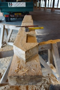Scarf joint detail.   A scarf joint is used when joining timbers end to end.