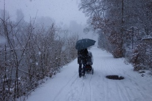 A heavy snowfall while out walking.