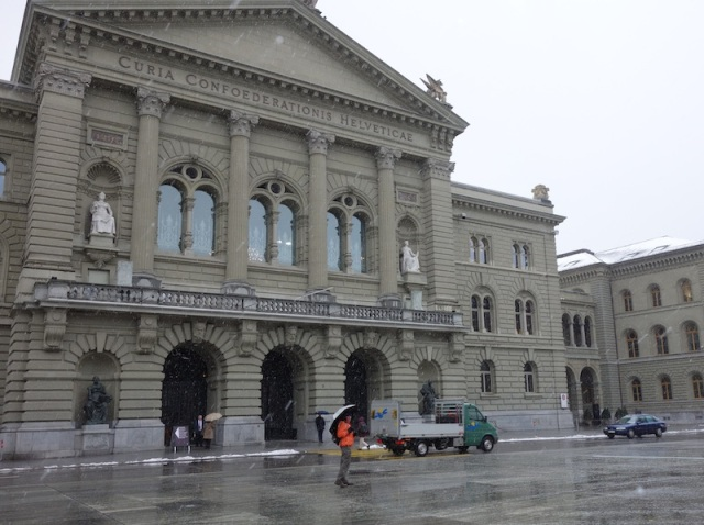 A front view of the Bundeshaus, the Swiss Parliament.
