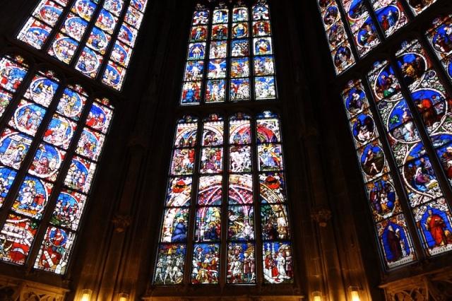 Windows inside the church.