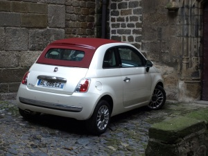 Much of Le Puy is car free however a little one like this Fiat (Italian Backpack) is ideal.