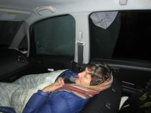 Bev tucked up and fortunately accepting that 'This is it, this is how it is'.